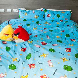 床包  雙人加大~憤怒鳥~藍~含兩件枕套,可愛卡通Angry Birds ^( 699 1