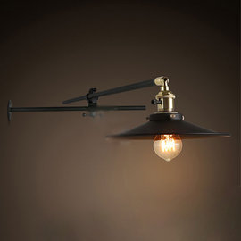 5Cgo~ 七天交貨~52081603267 燈具loft可調節長桿鐵藝 美式工業復古壁燈