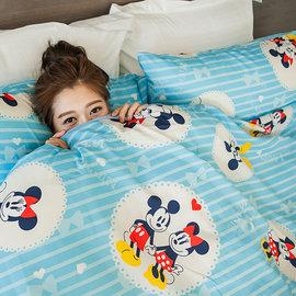 床包  雙人加大~米奇手牽手~藍~含兩件枕套,可愛迪士尼米奇 ^( 699 10件^)