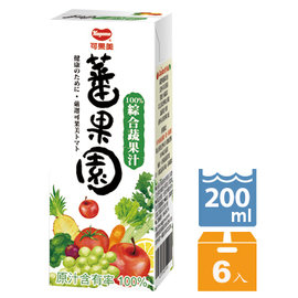 可果美蕃果園 100^%綜合蔬果汁200ml~6入