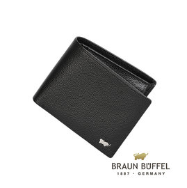 BRAUN BUFFEL 德國小金牛 真皮 HOMME~B系列 8卡 皮夾 黑色 BF19