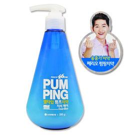 ~韓國 LG ~ 藍色 沁涼薄荷^(口氣清新^) 按壓式牙膏 285g^~太陽的後裔 宋仲