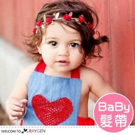 歐美多色玫瑰花金葉造型寶寶髮帶 髮箍【HH婦幼館】