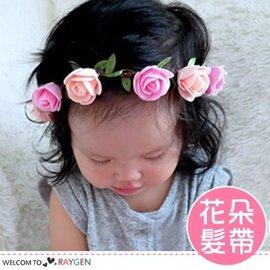 歐美復古立體玫瑰花造型寶寶髮帶 髮箍【HH婦幼館】