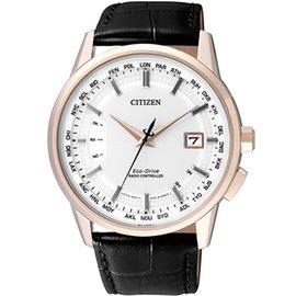7 18~7 31 好康限定69折CITIZEN 萬年曆五局電波光動能腕錶~白x金框^(C