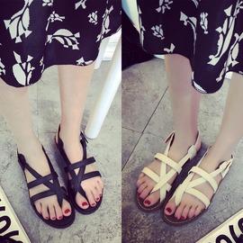 A羅馬平底涼鞋 鏤空夾趾交叉綁帶夾腳平跟 復古黑色 女鞋