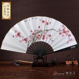 仿烏木折扇中國風男士扇子 古風手繪工藝白紙扇特色 扇