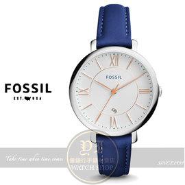 FOSSIL美國品牌Jacqueline 復古羅馬品味淑女腕錶 藍ES3986 貨