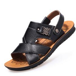 男士涼鞋真皮沙灘鞋男透氣休閒牛皮涼鞋露趾涼拖男鞋