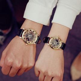 情侶錶一對皮帶 學生 潮男手錶超薄鏤空非機械女錶