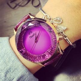 大錶盤蝴蝶刻度女士手錶皮帶女錶夢幻 潮流學生腕錶時裝錶
