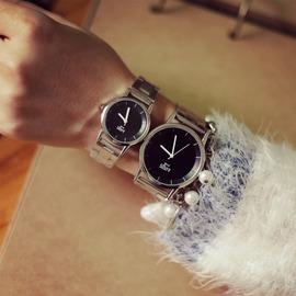 牌手錶男女士學生防水情侶錶鋼帶女錶休閒復古男錶
