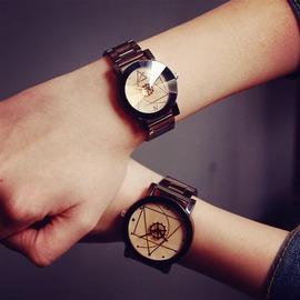 潮流復古石英潮男錶女錶鋼帶中學生腕錶黑白情侶手錶一對  只有一件