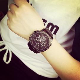 韓國ulzzang復古風 女黑色 超大錶盤手錶情侶錶街頭潮男錶