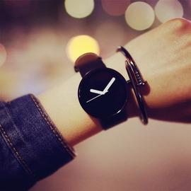 韓國 潮流防水真皮帶簡約學生考試情侶手錶 青少年潮男女錶
