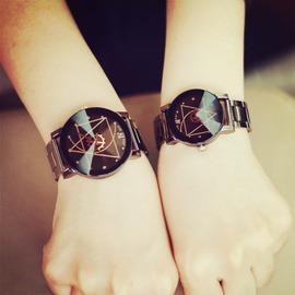 韓國 潮流復古石英潮男女錶鋼帶手錶中學生腕錶黑白情侶一對錶
