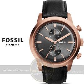FOSSIL美國品牌Townsman都會紳士計時腕錶~黑x玫塊金框 48mm FS5097