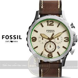 FOSSIL美國品牌Nate創世紀戰神三眼計時皮帶腕錶~米白x咖啡 50mm JR1496