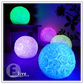【Q禮品】B3001 LED球型玫瑰花燈/玫瑰花球/七彩LED燈/小夜燈/情境燈/居家活動裝飾/情人節/婚禮佈置