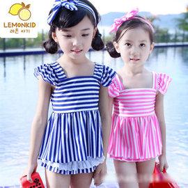 兒童甜美公主條紋泳衣