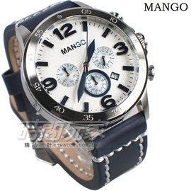 MANGO HOMME 厚實三眼多 計時碼錶 加厚皮帶錶 男錶 藍色 MG950014~5