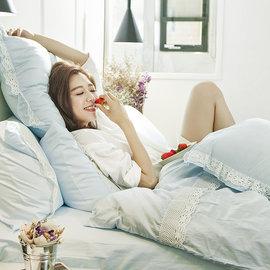 床包被套組 雙人加大~100^%精梳棉~香草布蕾~ 雙人加大床包被套組 含兩件枕套 ~AA