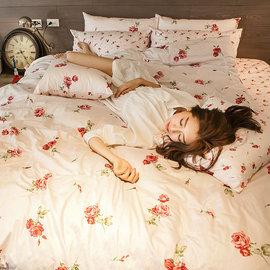 床包 雙人~100^%精梳棉~玫果雪酪~粉~5x6.2尺 雙人床包^(含兩件枕套^)