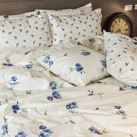 床包 單人~100^%精梳棉~玫果雪酪~藍~3.5x6.2尺 單人床包 AAS101