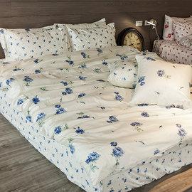床包 雙人~100^%精梳棉~玫果雪酪~藍~5x6.2尺 雙人床包^(含兩件枕套^)