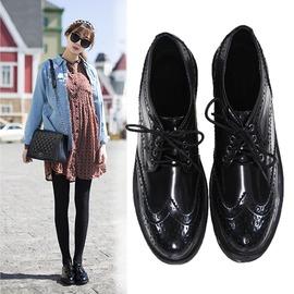 ~魔法鞋櫃~ 復古英倫平底圓頭真皮牛津鞋平跟繫帶布洛克小皮鞋黑色女鞋潮