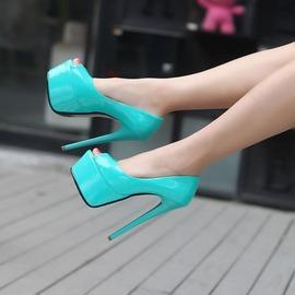~魔法鞋櫃~ 性感夜店風恨天高15cm超高跟細跟魚嘴鞋單鞋女舞台鞋