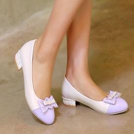 魔法鞋櫃 百搭低跟船鞋3公分粗跟花朵淺口防滑單鞋舒適拼色逛街約會工作女鞋