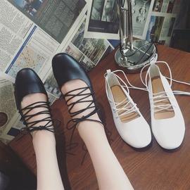魔法鞋櫃 芭蕾舞交叉綁帶平底鞋春夏圓頭氣質甜美