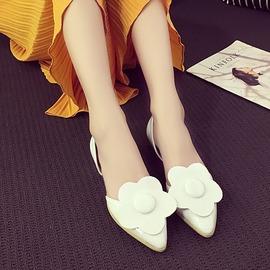 魔法鞋櫃  百搭平底女士涼鞋 中空尖頭花朵舒適平跟單鞋