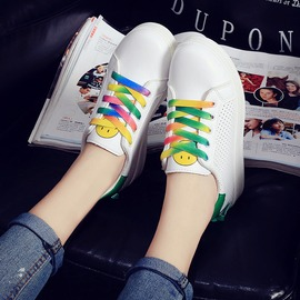 魔法鞋櫃 鞋白色彩虹帆布鞋圓頭板鞋女鞋平底單鞋潮