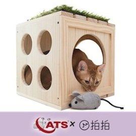 ~4catsx拍拍~~ ~貓咪遊樂場WOODEN CUBE原木方格櫃 貓草小老鼠