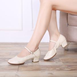 ~魔法鞋櫃~女士舞蹈鞋紅色中跟跳舞鞋交誼舞金銀演出舞鞋