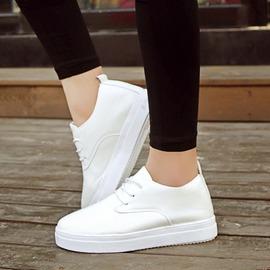 魔法鞋櫃  真皮板鞋 平底厚底小白鞋 學生休閒透氣網面女單鞋