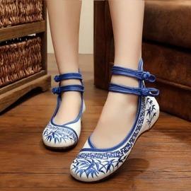 魔法鞋櫃 清新竹民族風繡花鞋內增高搭扣坡跟秋女單鞋