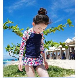 ~Q Mi shop~ 兒童泳衣 女孩女童寶寶長袖碎花泳裝游泳褲泳衣 2~9T