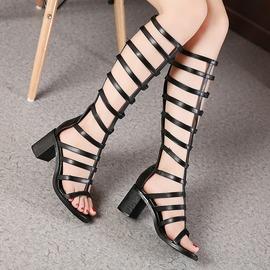 ~Magic鞋櫃~ 性感細帶露趾長筒涼靴粗跟高跟涼靴 高筒羅馬涼鞋女