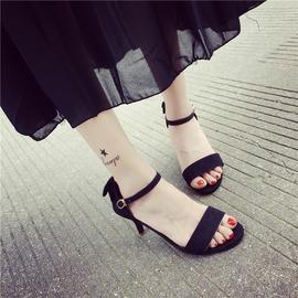 Magic鞋櫃  甜美 低跟細跟3CM高跟鞋后蝴蝶結尖頭淺口皮帶扣女涼鞋