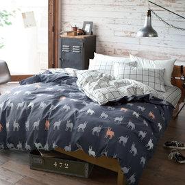 ~PAINT~北歐風格,紳士麋鹿 ,精梳棉,雙人加大床包,兩用薄被套四件組 A010209
