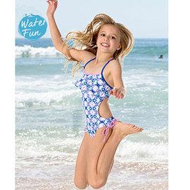 兒童防曬泳衣 一件式泳衣 萊卡 澳洲鴨嘴獸 UPF 50 抗UV圓形花朵 ^(小女10~1