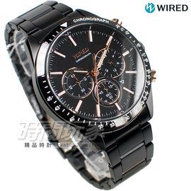 WIRED 極速三眼 多 計時碼錶 IP黑電鍍x玫瑰金 男錶 AY8004X1~VD53~
