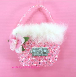 asdfkitty可愛家~展示品 ~kitty迷你串珠小手提包 裝飾品^(不含糖果^)