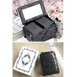 古典蝴蝶雕花翻蓋雙層化妝棉盒 安娜蘇風格首飾盒收納盒  珠寶盒
