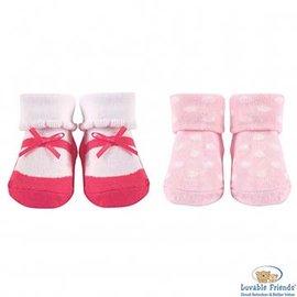 Luvable Friends 桃粉點點瑪莉珍嬰兒襪2件組 22068