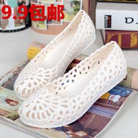 白色36 軟塑膠果凍鞋鏤空孕婦鞋防滑平底護士鞋媽媽鞋洞洞涼鞋沙灘鞋