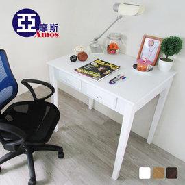 古典雙抽80CM書桌^(白色^) 電腦桌 辦公桌工作桌 防潑水MDF板零甲醛 實木腳 法式